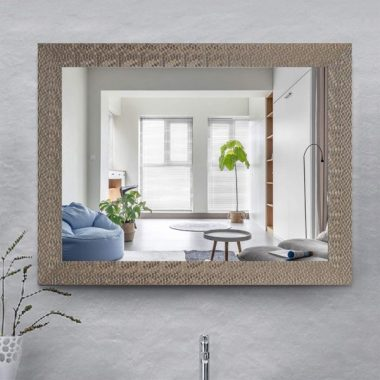 ZHOWI Vanity Bathroom Wall Mirror Large Mosaic Framed Wall-Mounted Decorative Rectangular Modern Mirrors for Home Bedroom Living Room Entryway Hanging Horizontal or Vertical (28x36in, Khaki)