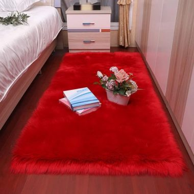 ZZFF Luxury Fluffy Rug Faux Fur Sheepskin Area Rug for Bedroom Bedside,Bedroom Shaggy Carpet Rectangle Washable Livingroom Nursery Decor Rug Red 45x45cm(18x18inch)