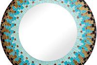 Zorigs Mirror Wall Art Décor – Handcrafted Decorative Wall Mirror, Turquoise, Brown, Dark Grey, and Aqua Glass Mosaic Mirror, 24 Frame, 14 Round Mirror for Hallway, Bedroom, Bathroom, Living Room