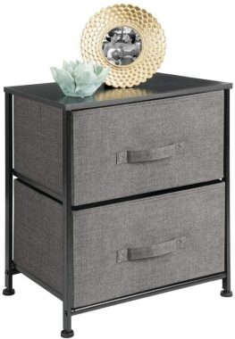 mDesign Vertical Dresser Storage Tower - Sturdy Steel Frame, Wood Top, Easy Pull Fabric Bins - Organizer Unit for Bedroom, Hallway, Entryway, Closets - Textured Print - 2 Drawers - Charcoal Gray Black