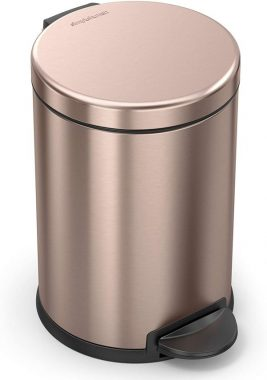 simplehuman, Rose Gold 4.5 Liter 1.2 Gallon Round Bathroom Step Trash Can, Stainless Steel