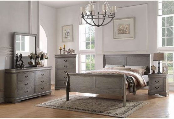 Acme Furniture Louis Philippe 4-Piece Bedroom Set, Antique Gray Queen