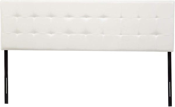 AmazonBasics Modern Tufted Vinyl Upholstered Headboard - Queen, White