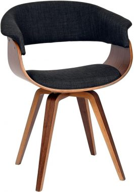 Armen Living Summer Chair in Charcoal Fabric and Walnut Wood Finish