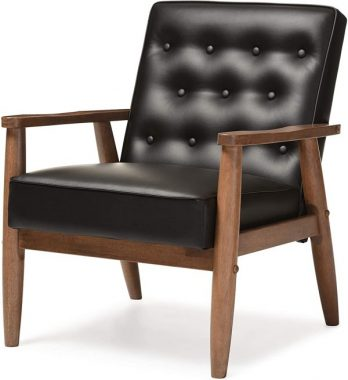 Baxton Studio Sorrento Mid-Century Retro Modern Faux Leather Upholstered Wooden Lounge Chair, Black