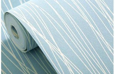 Blooming Wall Non-Woven Classic Plain Stripe Moonlight Forest Textured Wallpaper,Light Blue