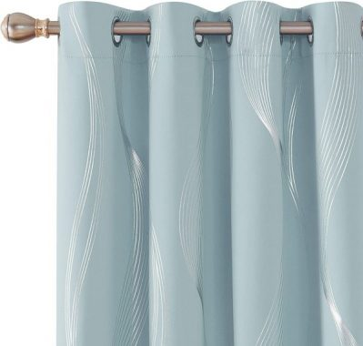 Deconovo Foil Print Wave Striped Solid Blackout Curtains Room Darkening Noise Reduction Grommet Window Curtain for Bedroom 52x95 Inch Set of 2 Sky Blue