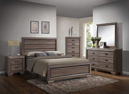 GTU Furniture Lyndon 4Pc Weathered Grey Panel Bedroom Set (Queen Bed, Nightstand, Dresser and Mirror)