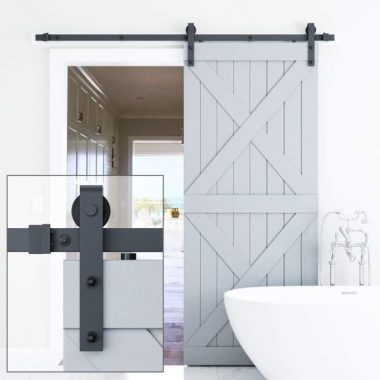 Genius Iron 6.6FT Single Barn Door Hardware, Classic Design Standard Track with Upgraded Nylon Bearings, for 36in-40in Wide Sliding Door Panel, Easy Installation Basic J