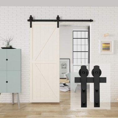 HomLux 5ft Heavy Duty Sturdy Sliding Barn Door Hardware Kit, Single Door-Smoothly and Quietly, Easy to Install and Reusable - 30 Wide Door Panel, Black(I Shape Hanger)