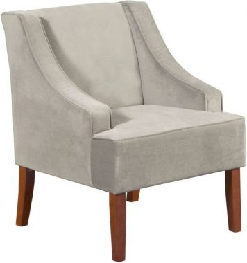 HomePop Velvet Swoop Arm Accent Chair, Gray
