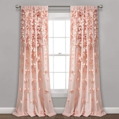 Lush Decor Blush Riley Curtain Sheer Ruffled Textured Bow Window Panel for Living, Dining Room, Bedroom (Single)