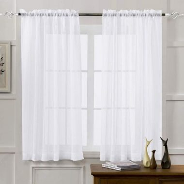 MYSTIC-HOME Sheer Curtains White 63 Inch Length, Rod Pocket Voile Drapes for Living Room, Bedroom, Window Treatments Semi Crinkle Curtain Panels for Yard, Patio, Villa, Parlor, Set of 2
