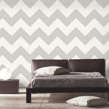 RoomMates Gray Large Chevron Peel and Stick Wallpaper