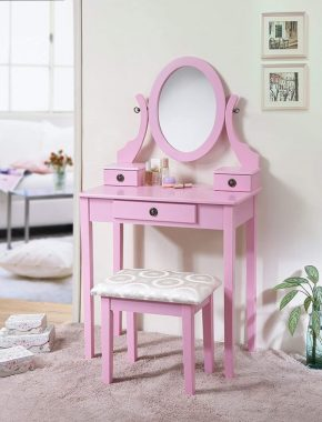 Roundhill Furniture Moniys Moniya Pink Wood Makeup Vanity Table and Stool Set