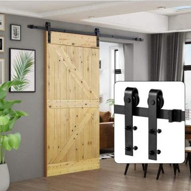 U-MAX 8 FT Heavy Duty Sturdy Sliding Barn Door Hardware Kit, J Shape Hangers, Super Smoothly and Quietly, Simple and Easy to Install, Fit 42-48 Wide Door Panel