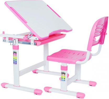 VIVO Pink Height Adjustable Children's Desk and Chair Set Kids Interactive Workstation