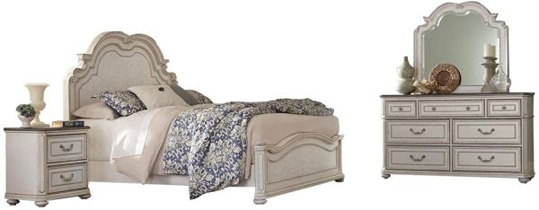 Willowick Traditional Queen Bedroom Set with Panel in Antique White, 5-Piece