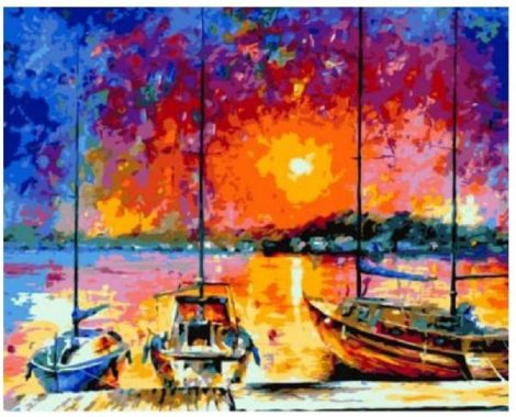 ZKAIAR DIY Oil Painting by Numbers Paint On Canvas Modern Wall Pictures for Living Room Wall Art Home Decor Sunset Under The Harbor
