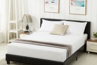 mecor Faux Leather Bonded Platform Bed Frame Upholstered Panel Bed Full Size, No Box Spring Needed, for Adults Teens Children, Black Full