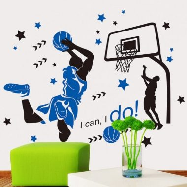 Amaonm Creative 3D Basketball Player Dunk Basketball Star Wall Decals Removeable Walls Art Decor DIY Wall Sticker Home Decorations Decal Nursery Sticker for Boys Room Living Room Bedroom (Blue)