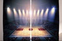 Ambesonne Basketball Curtains, Crowded Basketball Arena Just Before Game Starts School Tournament Theme, Living Room Bedroom Window Drapes 2 Panel Set