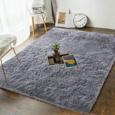 Andecor Soft Bedroom Rugs - 4' x 6' Shaggy Floor Area Rug for Living Room Kids Room Home Decor Carpet, Grey