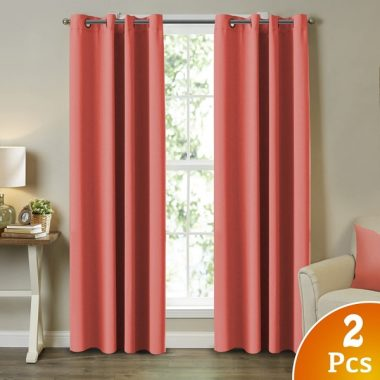 Blackout Curtains and Drapes - Triple Weave Energy Saving Solid Coral Curtains For Girls Room Thermal Insulated Gromment Curtain Panels, Coral Drapes for Kids Room, Coral, 2 Panel