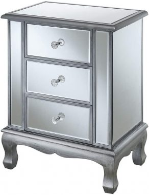 Convenience Concepts Gold Coast Vineyard 3 Drawer Mirrored End Table, Antique Silver