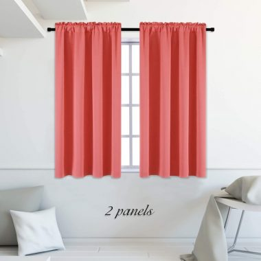DONREN Coral Blackout Curtain Panels with Rod Pocket - Room Darkening Thermal Insulated Curtains for Bedroom