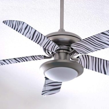 Fancy Blade Ceiling Fan Accesories Blade Cover Decoration, Zebra Print