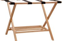 Household Essentials 2127-1 Folding Luggage Rack with Lower Storage Shelf Bamboo Frame with Black Straps