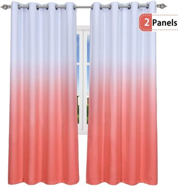 KEQIAOSUOCAI Coral Ombre Curtains for Bedroom Living Room Set of 2 Curtain Panels Gradient Color Thermal Insulated Grommet Window Drapes 52x95 inch 2 Panels