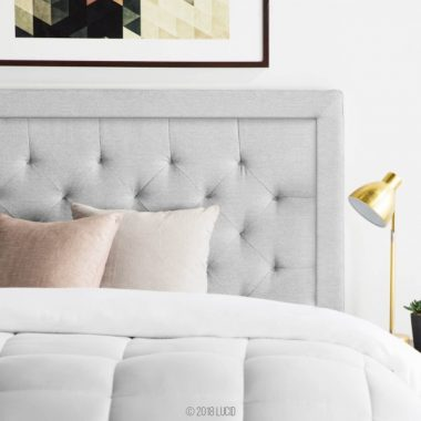 LUCID Bordered Upholstered Headboard with Diamond Tufting, Queen, Stone