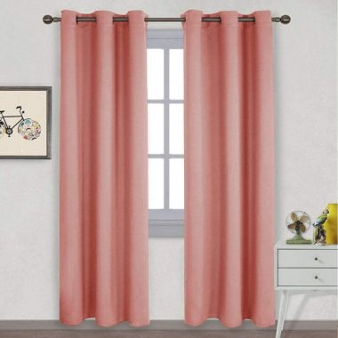 NICETOWN Energy Smart Thermal Insulated Solid Ring Top Room Darkening Curtains Drapes for Bedroom (Coral, 2 Pieces, 42 x 84 Inch)