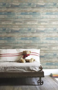 RoomMates - RMK9052WP Distressed Wood Blue Peel and Stick Wallpaper Removable Wallpaper Self Adhesive Wallpaper