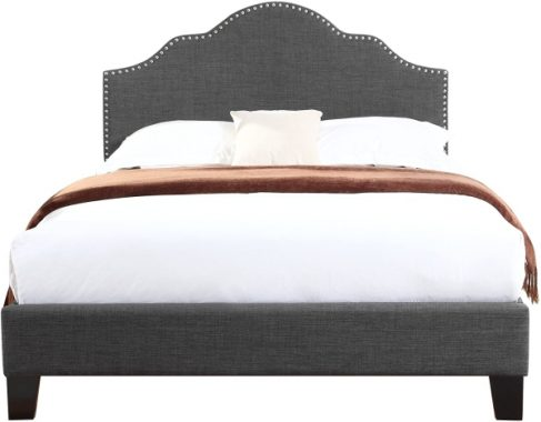 Upholstered Bed With Nailhead, Padded Headboard, And Platform-Style Base