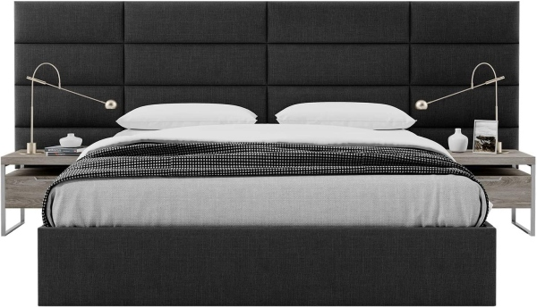 Vänt Upholstered Wall Panels - Queen-Full Size Wall Mounted Headboards - Weave Steal Black – Pack of 4 Panels