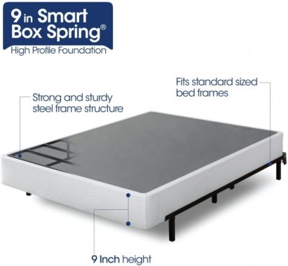 Zinus Armita 9 Inch High Profile Smart Box Spring Mattress Foundation Strong Steel Structure Easy Assembly Required, Queen
