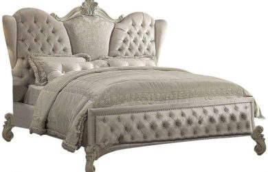 ACME Versailles Ivory Velvet and Bone White Eastern King Bed