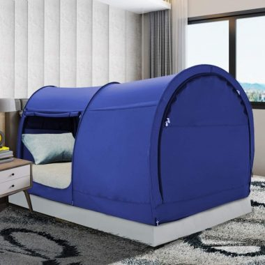 Bed Tent Dream Tents Bed Canopy Shelter Cabin Indoor Privacy Warm Breathable Pop Up Full Size for Kids and Adult Patent Pending Navy(Mattress Not Included)