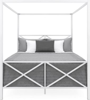 Best Choice Products Modern 4 Post Canopy Queen Bed w Metal Frame, Mattress Support, Headboard, Footboard - White
