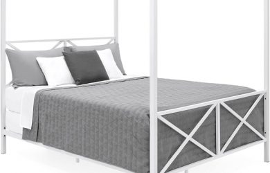 Best Choice Products Modern 4 Post Canopy Queen Bed with Metal Frame, Mattress Support, Headboard, Footboard - White
