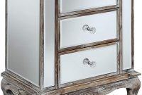 Convenience Concepts Gold Coast Vineyard 3 Drawer Mirrored End Table, Weathered White Mirror