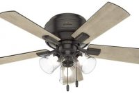 Hunter Fan Company 52153 Crestfield Indoor Low Profile Ceiling Fan with LED Light and Pull Chain Control, 42, Noble Bronze