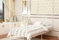 JURMERRY Canopy Bed with Sturdy Metal Frame Premium Steel Slat Support,Twin Size-White