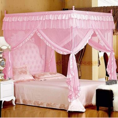 Mengersi Princess 4 Corners Post Bed Curtain Canopy Mosquito Net (Pink, Full)