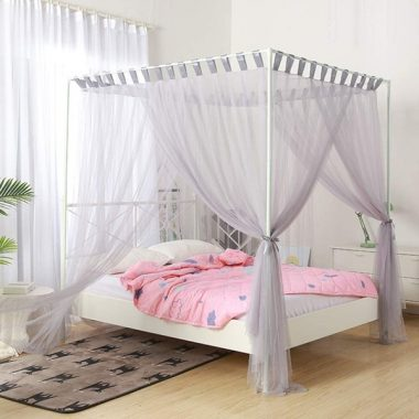 Mengersi Simple 4 Corners Post Curtain Bed Canopy Bed Frame Canopies Net,Bedroom Decoration Accessories(Full,Gray)