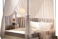 Mengersi Simple 4 Corners Post Curtain Bed Canopy Bed Frame Canopies Net,Bedroom Decoration Accessories(Queen,White)