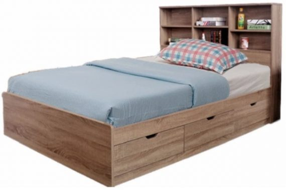 Modern Style Brown Finish Twin Size Chest Bed with 3 Drawers
